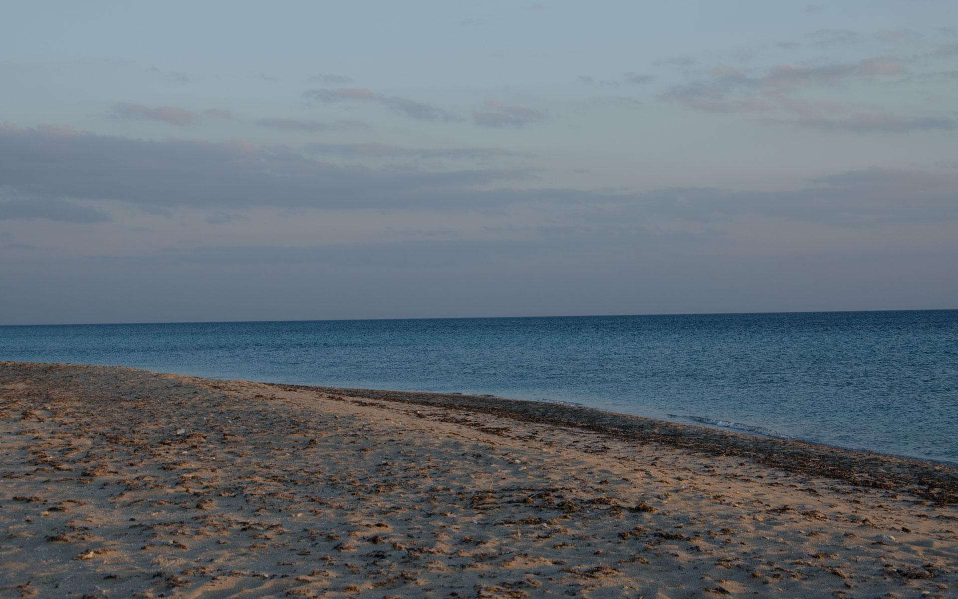 Пляж в апреле. Фото Заозёрного