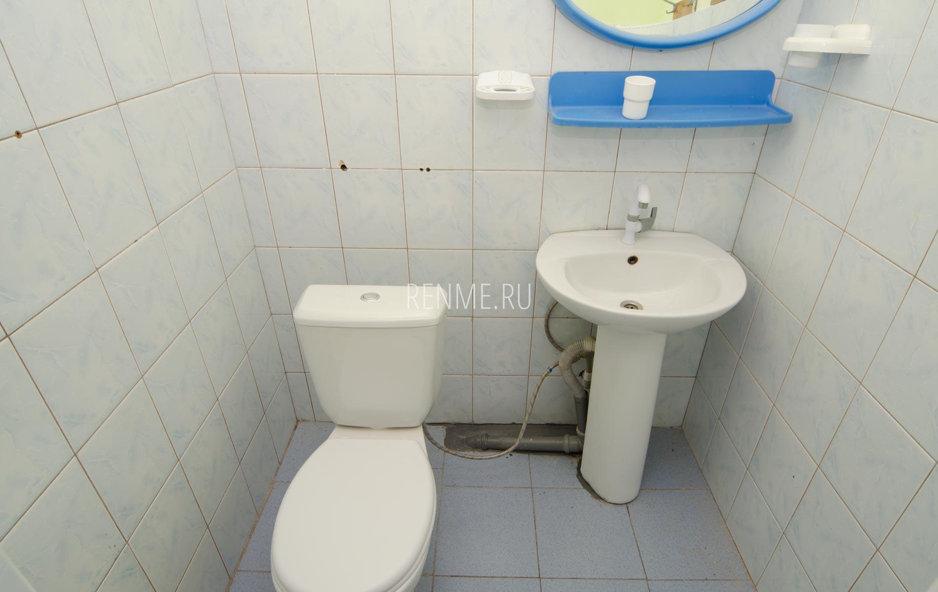 Туалет, умывальник. Дом на 8-10 гостей. Номера на Вишневой. Заозёрное
