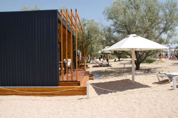 Домики на пляже Супер Аква. Фото Заозёрного