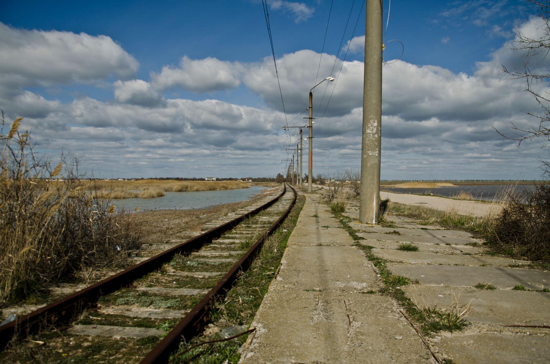 Трамвай села Молочное. Фото Молочного